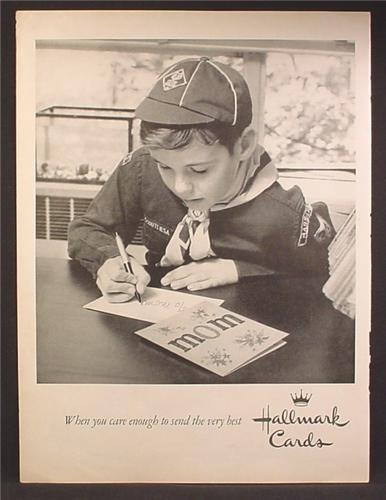 Magazine Ad For Hallmark Cards, Cub Scout With Mother's Day Card, 1958