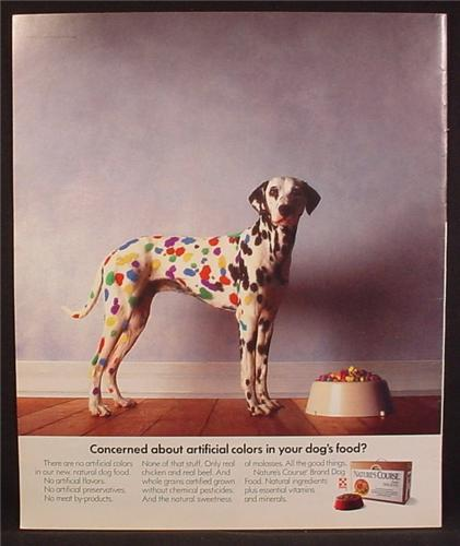 Magazine Ad For Nature's Choice Dog Food, Dalmatian Dog With Bright Colored Spots, 1991