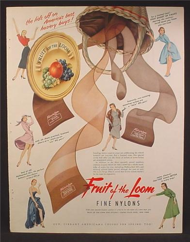 Magazine Ad For Fruit Of The Loom Fine Nylons, Basket of Stockings, 1952