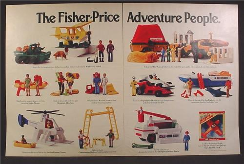 Magazine Ad For Fisher Price Adventure People Series Of Toys, Figures & Sets, 1976, 3 Page Ad