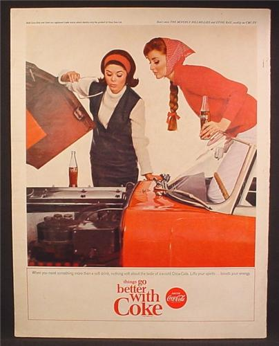 Magazine Ad For Coke Coca-Cola, Two Women Looking Under The Hood Of Their Car, 1965