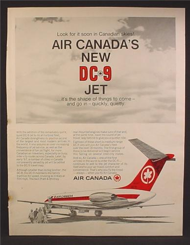 Magazine Ad For Air Canada New DC-9 Jet Airplane, DC9, 1966