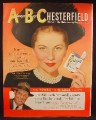 Magazine Ad For Chesterfield Cigarettes, Joan Fontaine, Celebrity Endorsement, 1949