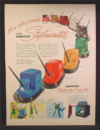 Magazine Ad For Carter's Stylewriter Desk Set, 9 Different Colors, Pen & Inkwell, 1947