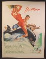 Magazine Ad For Jantzen Swimsuits, man & Woman Riding Dolphins, Pete Hawley Art, 1947