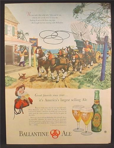 Magazine Ad For Ballantine Ale, Beer, Conestoga Wagon Arriving At Tavern Illustration, 1947