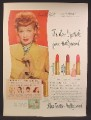Magazine Ad For Max Factor Hollywood Make Up, Lipstick, Lucille Ball, Lucy, Celebrity, 1947