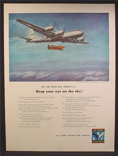 Magazine Ad For U.S. Army Recruiting, Air Force Day, B-29 Launching an XS-1 Test Rocket, 1947