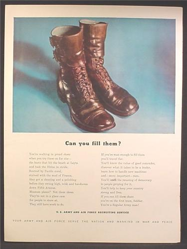 Magazine Ad For U.S. Army Recruiting, Pair of Army Boots, Can You Fill Them, 1947