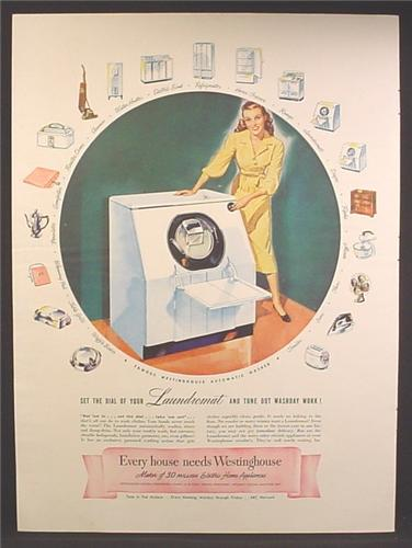 Magazine Ad For Westinghouse Laundromat Automatic Clothes Washer, 1947
