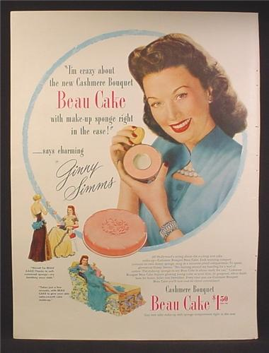 Magazine Ad For Cashmere Bouquet Beau Cake Make-Up in Case, Ginny Simms, Celebrity 1947