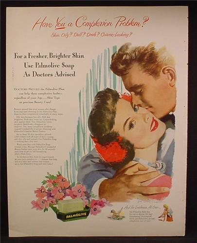 Magazine Ad For Palmolive Soap, Use Palmolive Soap As Doctors Advised, Happy Couple, 1949