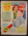 Magazine Ad For Duz Safe Suds Laundry Soap, Kitchen Cleaver Offer, Demented Looking Woman, 1949