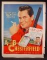 Magazine Ad For Chesterfield Cigarettes, Glenn Ford, Celebrity Endorsement, 1949