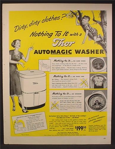 Magazine Ad For Thor Automatic Washer, Dirty Clothes, Boy Climbing A Tree, 1949, 10 1/2 by 13 1/2
