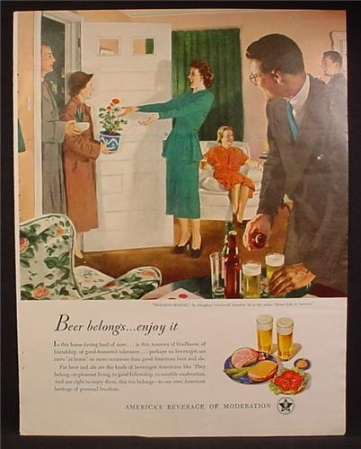 Magazine Ad For Beer Belongs, Housewarming, Number 34, Douglass Crockwell, 1949, 10 1/2 by 13 1/2