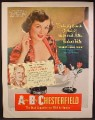 Magazine Ad For Chesterfield Cigarettes, Barbara Hale, Celebrity Endorsement, 1950, 10 1/2 by 13 1/2