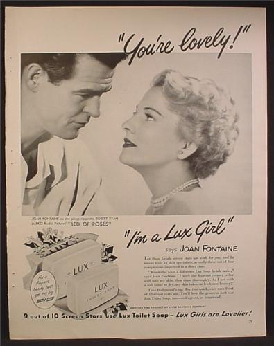 Magazine Ad For Lux Toilet Soap, Joan Fontaine, I'm A Lux Girl, Celebrity Endorsement, 1950