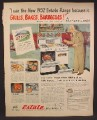 Magazine Ad For Estate Gas Ranges, Duncan Hines Endorsement, Stove, 1952, 10 1/2 by 13 1/2