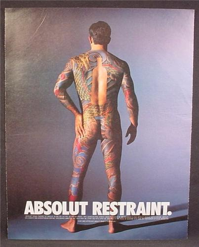 Magazine Ad For Absolut Restraint, Vodka, Nude Man With Body Tattoos Except Bottle Shape, 1993