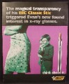 Magazine Ad For Bic Classic Stic Pens, Boy Wearing X-Ray Glasses Stares At Woman, Funny, 1997