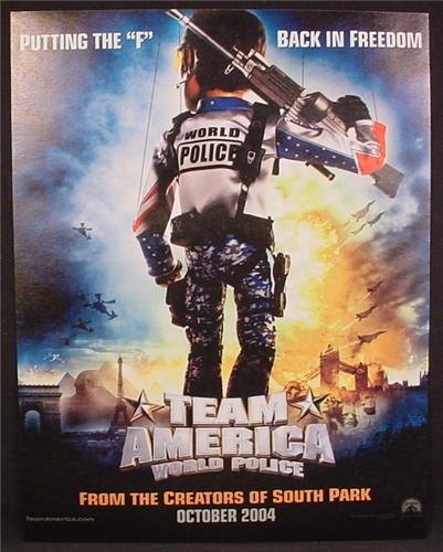 Magazine Ad For Team America World Police Movie, Putting The F Back In Freedom, 2004