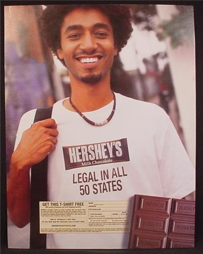 Magazine Ad For Hershey's Milk Chocolate Bar T-Shirt Offer, Legal In All 50 States, T Shirt, 2004