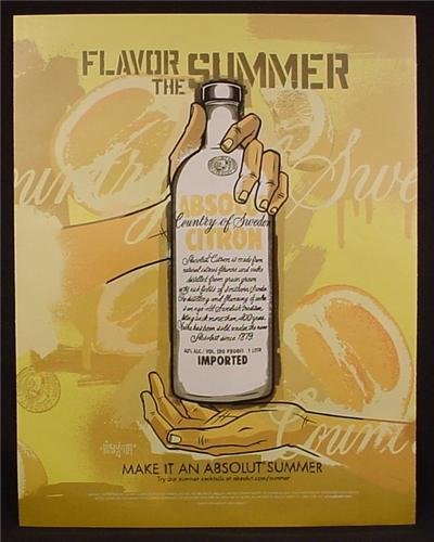 Magazine Ad For Absolut Citron, Make It An Absolut Summer, Flavor The Summer, 2004, 9 1/2 by 12