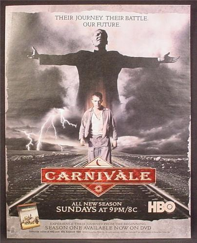 Magazine Ad For Carnivale TV Show, Television, HBO All New Season, 2004, 9 1/2 by 12