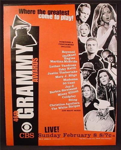 Magazine Ad For 46TH Grammy Awards TV Show, Television, CBS, 2004, 9 1/2 by 12