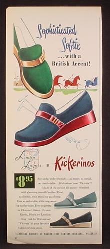 Magazine Ad For Kickerinos Shoes, Sophisticated Softie With A British Accent, 1952, 5 3/8 by 13 1/4