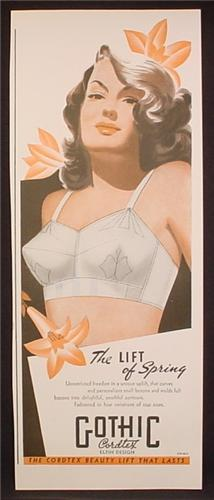 Magazine Ad For Gothic Cordtex Bra, Lingerie, Pin Up Illustration, 1944, 5 5/8 by 13 1/4
