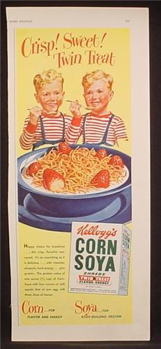 Magazine Ad For Kellogg's Corn Soya Shreds, Twin Treat, Twin Boys, 1948, 5 1/2 by 13 5/8