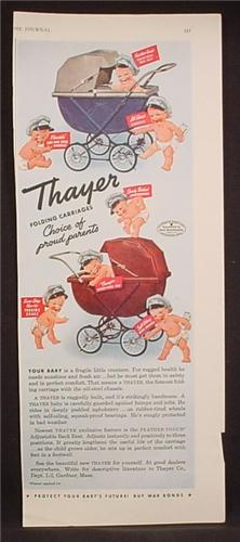 Magazine Ad For Thayer Folding Baby Carriages, Babies Wearing Hats, 1944, 5 1/2 by 13 5/8