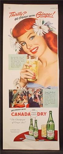 Magazine Ad For Canada Dry Ginger Ale, Go Steady With Ginger, Pretty Redhead Girl, 1948