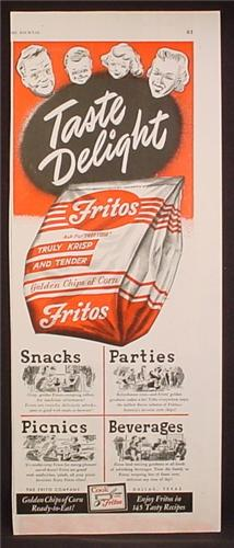Magazine Ad For Fritos Golden Chips Of Corn, Truly Krisp And Tender, Bag, 1949, 5 1/2 by 13 5/8