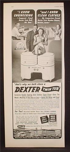 Magazine Ad For Dexter Twin Tub Ringer Washing Machine, 1949, 5 1/2 by 13 5/8
