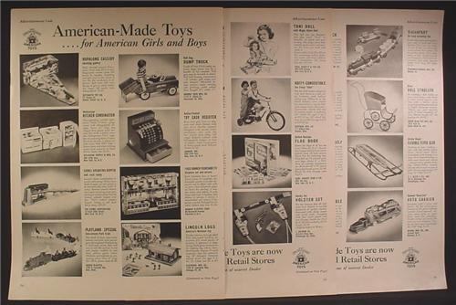 Magazine Ad For American Made Toy Catalog, 40 Different Toys Pictured, 1950, 5 Page Ad