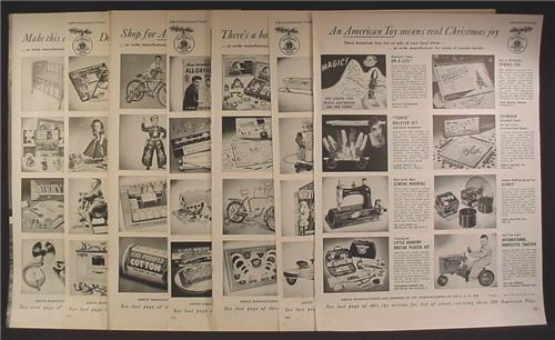 Magazine Ad For American Made Toy Catalog, 88 Different Toys Pictured, 1950, 14 Page Ad