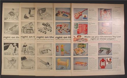 Magazine Ad For Quality Goods Mfg Toy Catalog, 72 Different Toys Pictured, 1955, 9 Page Ad