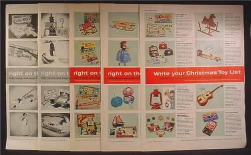 Magazine Ad For Quality Goods Mfg Toy Catalog, 64 Different Toys Pictured, 1956, 8 Page Ad