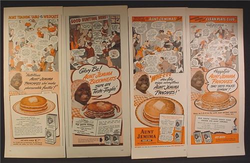Lot of 4 Magazine Ads for Aunt Jemima Pancakes, Cartoon Strip, 1940's and 1950's, 1/2 Page ads