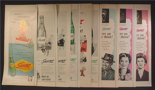 Lot of 9 Magazine Ads for Squirt Soft Drink, 1930's 1940's and 1950's, 1/2 Page ads