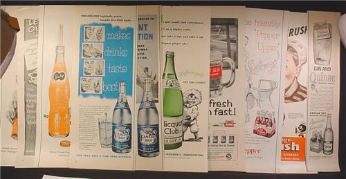 Lot of 10 Magazine Ads for Soft Drinks, 1930's 1940's and 1950's, 1/2 Page ads, No Duplicates