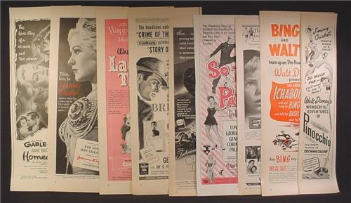 Lot A of 9 Magazine Ads for Movies, 1930's 1940's and 1950's, 1/2 Page ads, No Duplicates