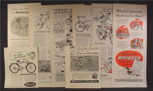 Lot of 8 Magazine Ads for Bicycles, Bikes, Roadmaster, Schwinn, Whizzer, Raleigh, Huffy, AMF