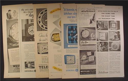 Lot of 7 Magazine Ads for Clocks, Westclox, GE, Telechron, Cyma, 1940's and 1950's, 1/2 Page ads