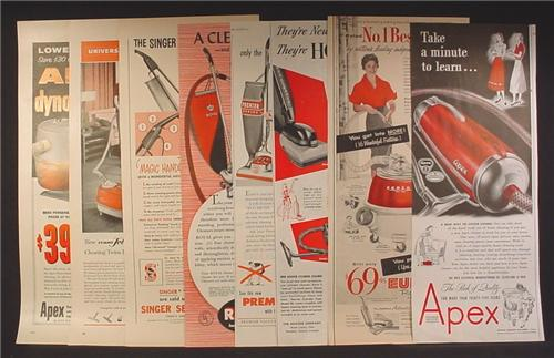 Lot of 8 Magazine Ads for Vacuum Cleaners, Eureka, Apex, Royal, Hoover, 1940's and 1950's