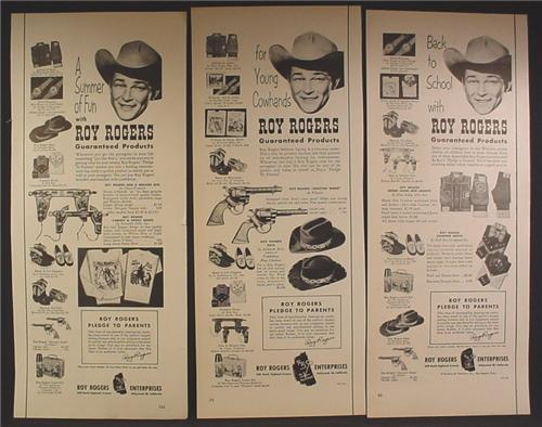 Lot of 3 Magazine Ads for Roy Rogers Toys & Clothing, Cowboy, Western, 1950's, 1/2 Page ads