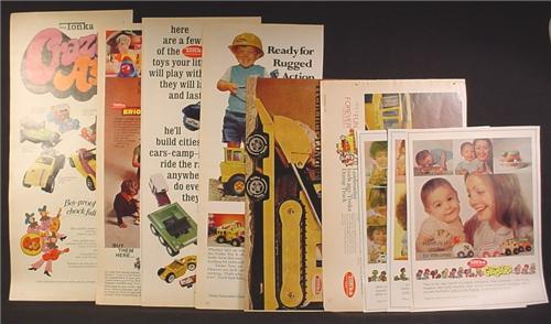 Lot of 9 Magazine Ads for Tonka Toys, Gigglers, Brio, Toddlers, Crazy A's, 1970's, 1/2  1/3 Page ads